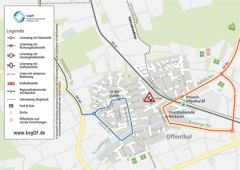Umleitungsplan für Buslinien in Offenthal